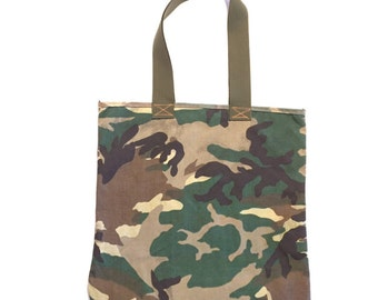Camo Tote | 20 x 16 Tote leftover material from US Military | Made in the USA | Straps Military 100% Cotton Anti-fungal