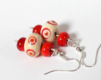 Red and ivory lampwork beads earrings - Murano glass jewelry