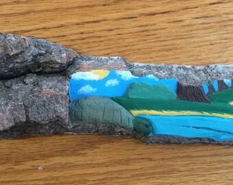 Pond / bark art / wood sculpture