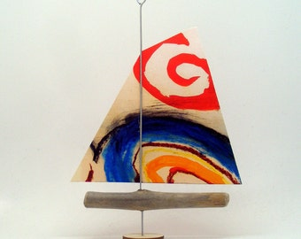 Driftwood Boat with Paper Sail