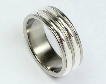 Polished titanium and silver ring. Titanium, silver 925 men's ring. Titanium, silver jewelry. Promise ring, engagementring.