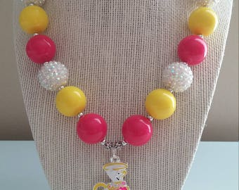 Mrs. Potts and Chip Beauty and the Beast Bubblegum Bead Necklace
