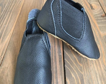 JR - Baby & Toddler Black Leather Booties Handmade