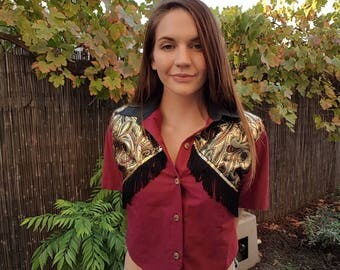 80s shoulder pad fringed wine button up crop top Australian Made