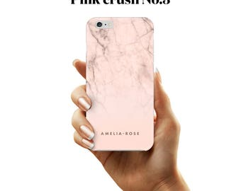 Pink marble initial phone case for iPhone and Samsung Galaxy devices.
