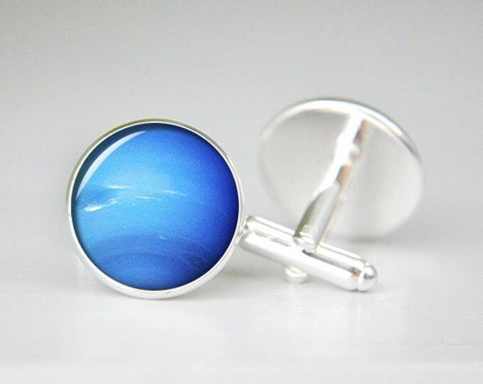 Neptune Cuff Links, Galaxy Cufflinks, Blue Planet, Space Cufflinks, Science Wedding, Solar System, Father's Day, Groom