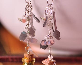 Harry Potter themed Potion Earrings Deathly Hallows (Resurrection Stone, Invisibility CloaK), Luna Lovegood items, Sorting hat, Quidditch