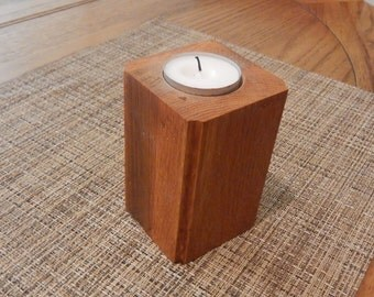 Solid American Red Oak Tea Light Holder