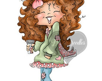 Instant Download Digital Stamp Digi Stamp Ginger Curly Girl by Dina Gerner