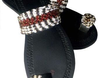 leather beaded boho/Kenyan maasai beaded sandal/masaai sandal/ladies sandal
