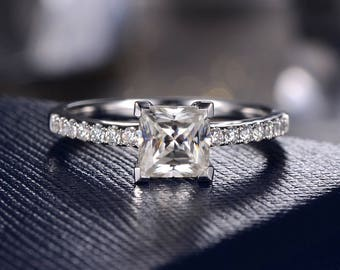 Princess Cut Moissanite Engagement Ring Wedding Bridal Ring White Gold Half Eternity Band Pave Moissanite Anniversary Promise Women Her Gift