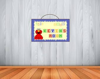 Personalized Elmo Sign, Elmo Personalized Wooden Name Sign, Elmo Room Decor, Birthday Gift