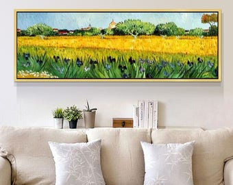 Hand Painted Original oil painting,Vincent Van Gogh painting,impasto,heavy texture,Iris feild,Wall Art for living Room Home Decor
