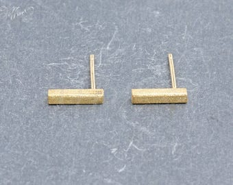 Earrings 925 sterling silver plated rectangle * bar
