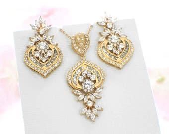 Gold necklace set, Art Deco jewelry vintage, CZ bridal necklace, bridal earrings, wedding jewelry set, bridesmaid gift, bridal jewelry set