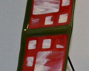 Fused glass art dish, Christmas colors, Red and Green hand made, decorative, rectangular plate