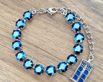 Doctor Who Tardis Police Box Inspired Swarovski Crystal 8mm 14 Stone Tennis Bracelet