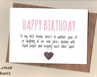Funny BEST FRIEND Birthday Card/  Bestie / Love / Friends /Humour / Banter  / Greetingcards  - Another Year Pink