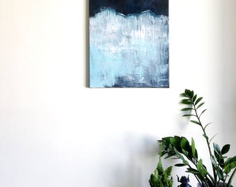 Abstract painting 'Iceberg' ORIGINAL, acrylic on canvas, free shipping, landscape, black, white, blue, iceberg, dark, bright, cold