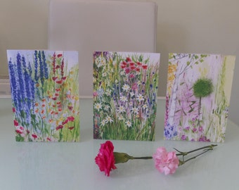 Pack of three Wildflower garden cards.