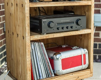 Reclaimed Record & Turntable Cabinet