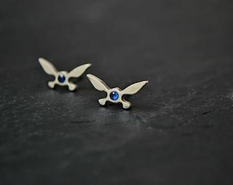 Legend of Zelda Earrings, Navi Fairy Zelda Stud Earrings Jewelry, 925 Sterling Silver, Geek Zelda Gift, Ocarina of Time