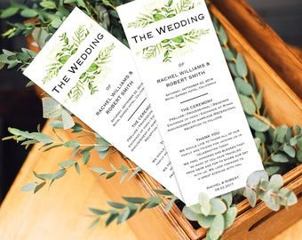 Greenery Wedding program template printable, editable program, floral wedding, ceremony wedding program instant download