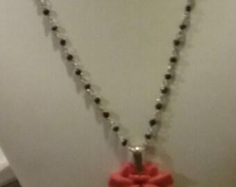 Unique Handmade beaded necklace pink flower pendant