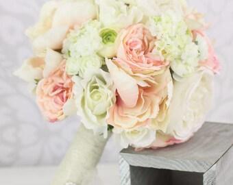Silk Bride Bouquet Peony Flowers Pink Cream Spring Mix Shabby Chic Wedding Decor (1023)