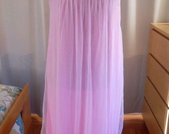 1960's Pink Double Layered Chiffon Peignoir and Robe Set