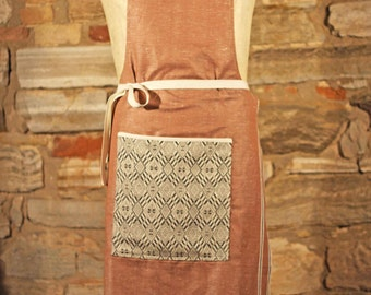 Cotton linen apron | Light coral geometric pattern | Handmade Apron | Made in Italy