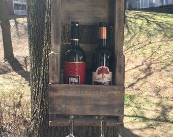 Custom wine rack made from reclaimed wood, hand made