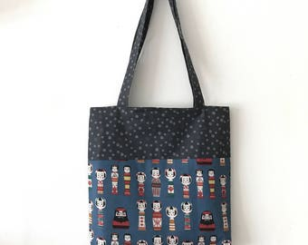 Handmade Tote bag / Carry all for knitting crochet project 32 x 32 x 5 cm *Japanese doll blue*