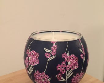 Large Floral Hand Made Soy Candle