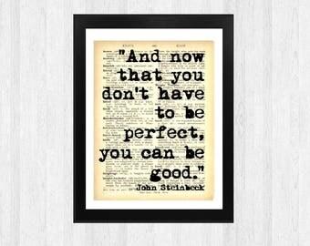 Steinbeck Art Print - Wall Art - Digital Prints -Book Print - Home Decor - Book Page Print - Quote Print - Print A4 - Quotation  -