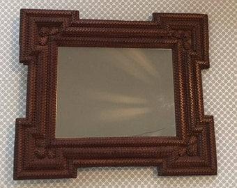 tramp art frame mirror
