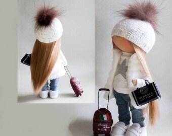 Handmade doll Textile doll Fabric doll Tilda doll Rag doll Cloth for doll dollhouses