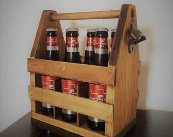 Wooden Beer Caddy with Bottle Opener FREE SHIPPING!!