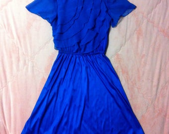 1970s Royal Blue Vintage Dress / 70s Vintage Royal Blue Fancy Dress