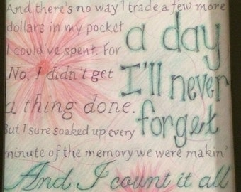 Time Well Wasted (Brad Paisley) Lyrics Wall Art