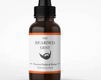 The Bearded Gent's Beard Oil - (Vanilla & Mango) 14 Scents available! (10ml, 30ml, 100ml) - For a thicker, softer and fuller beard!