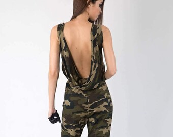 Military Jumpsuit, Romper, Backless Jumpsuits, Women Jumpsuits, Military Romper, Loose Casual Pants, Loose Pants, Military Green, Camouflage