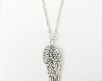 Angel Wing Jewelry, Angel Necklace, Angel Wing Necklace, Angel Wing Pendant, Gift for Mom, Mother's Day Gift Idea, Silver Angel Wing