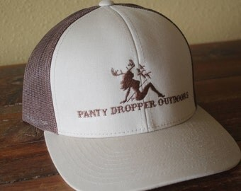 Snapback Mesh Baseball Hat Beige/Brown