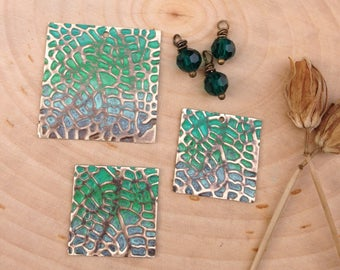 Embossed jewelry components- collection #3 leaf texture & emerald bead dangles