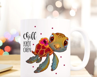 Coffe Mug Cup Turtle with Quote Chill Kröt Chen and Dots TS460