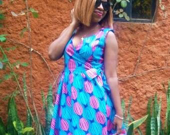 African Wrap Dress, African Print Dress ,Ankara Dress, African clothing, african dress, the african shop, kitenge,dashiki , ethnic clothing
