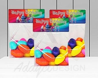 INSTANT DOWNLOAD, Trolls Candy Bag Label, Treat Bag Toppers, Trolls Hair, Trolls Theme, Trolls Party, Trolls Favor labels, Birthday Party
