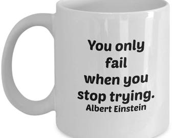 Albert Einstein goals quote mug. Lifehacks. Achievement unlocked. Learning how to deal with failure. Albert Einstein mug. Einstein quotes.