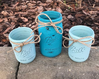 3 Hand Painted with Chalk Paint Ball Mason Jars